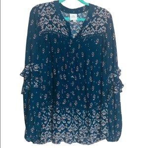 KNOX ROSE Women's tunic top size XXL blue